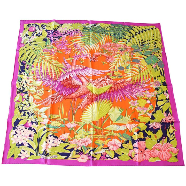 Hermes Flamingo Party Miami 90 cm Silk Limited Edition Pink Carre Scarf