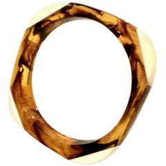 1960'S Lucite Faux Ivory & Tortoise Shell Bangle Bracelet