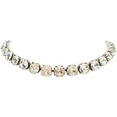 Mid-20th Century Silver & Austrian Crystal Choker Style Necklace