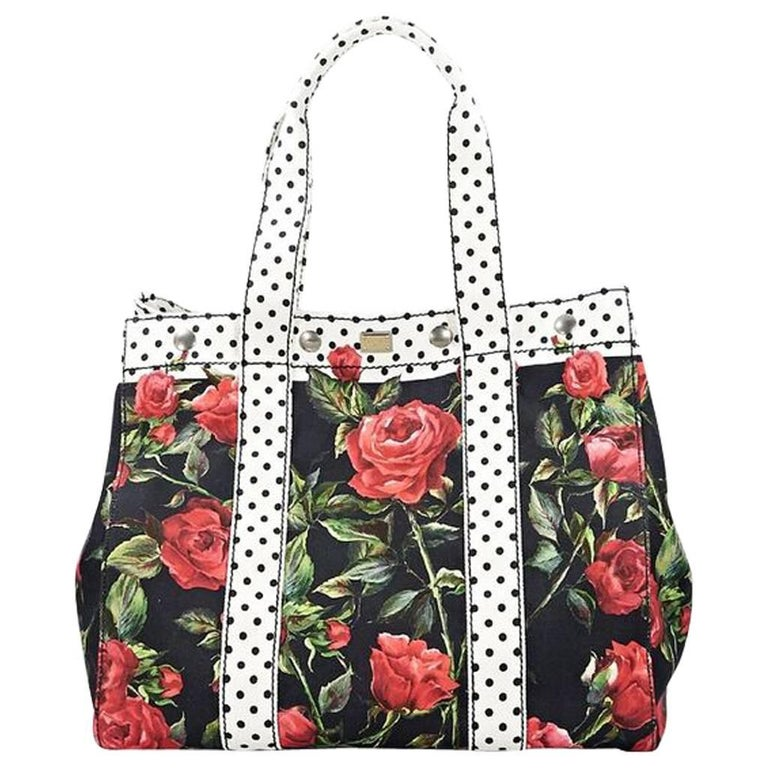 Multicolor Dolce & Gabbana Floral Canvas Tote Bag