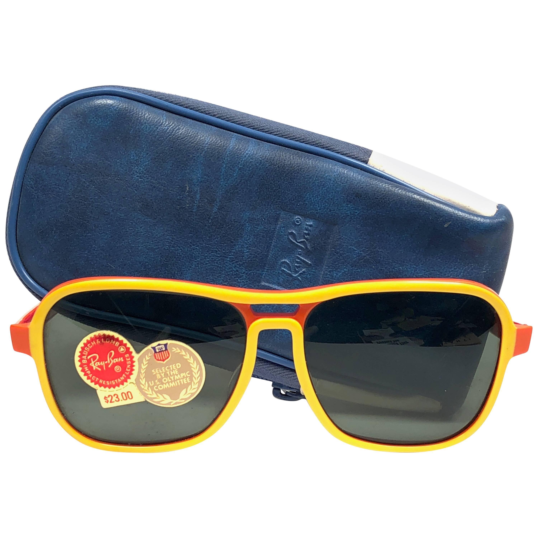 c979f1307d58f New Vintage Ray Ban B L Vagabond Rasta Changeable Green Lenses Sunglasses  USA For Sale at 1stdibs