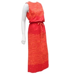 Vintage Swedish Colorful Cotton Canvas Maxi Dress