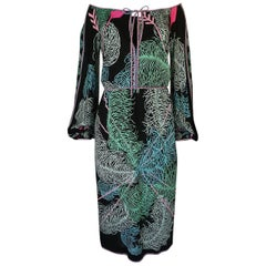 Emilio Pucci Feather Print Off Shoulder Silk Jersey Dress, 1960s