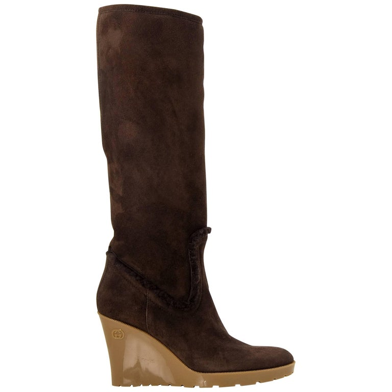 New Size 7 Gucci Chocolate Brown Shearling Wedge Boots