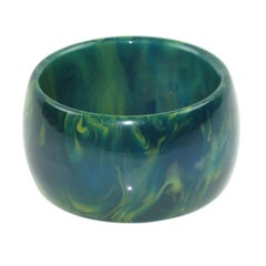 Bakelite Blue-Moon Marble Oversized Wide Shape Bangle Bracelet