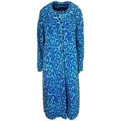 1970s La Mendola Silk Jeresy Blue Print Dress & Knit Jersey Coat Set
