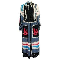 1980s Michaele Vollbracht Too Printed Silk Skirt & Top Set
