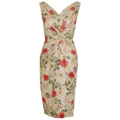 1950's Ceil Chapman Metallic Floral Silk-Brocade Ruched Hourglass Cocktail Dress