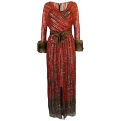 Bill Blass Hand Sequin Gold and Red Silk Chiffon Dress