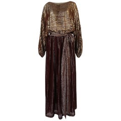 1970s Bill Blass Burgundy & Gold Lurex Striped Silk Chiffon Dress