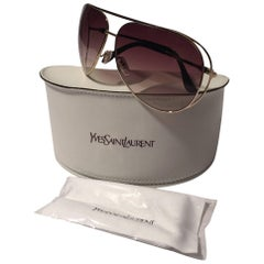 New Yves Saint Laurent YSL Gold Aviator Sunglasses With Case