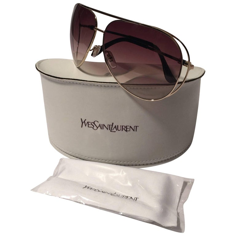 Yves Saint Laurent New YSL Gold Aviator Sunglasses