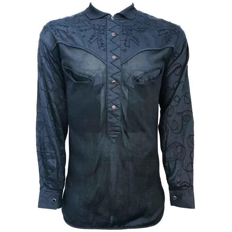 1980s Claude Montana Kintt and Embroidered Western Shirt