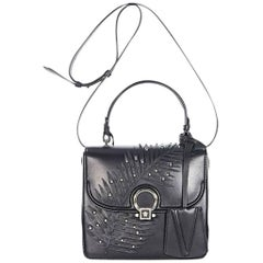 Black Versace Embellished Mini Leather Satchel