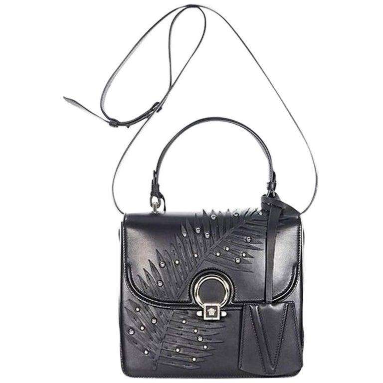 Black Versace Embellished Mini Leather Satchel