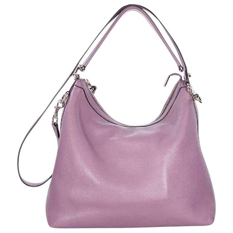Purple Gucci Leather Miss GG Shoulder Bag