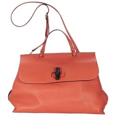 Orange Gucci Daily Pebbled Leather Satchel