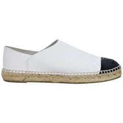 White & Black Chanel Leather Flat Espadrilles