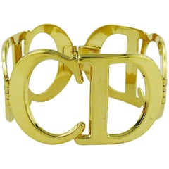 Christian Dior Vintage Iconic CD Logo Initials Cuff Bracelet