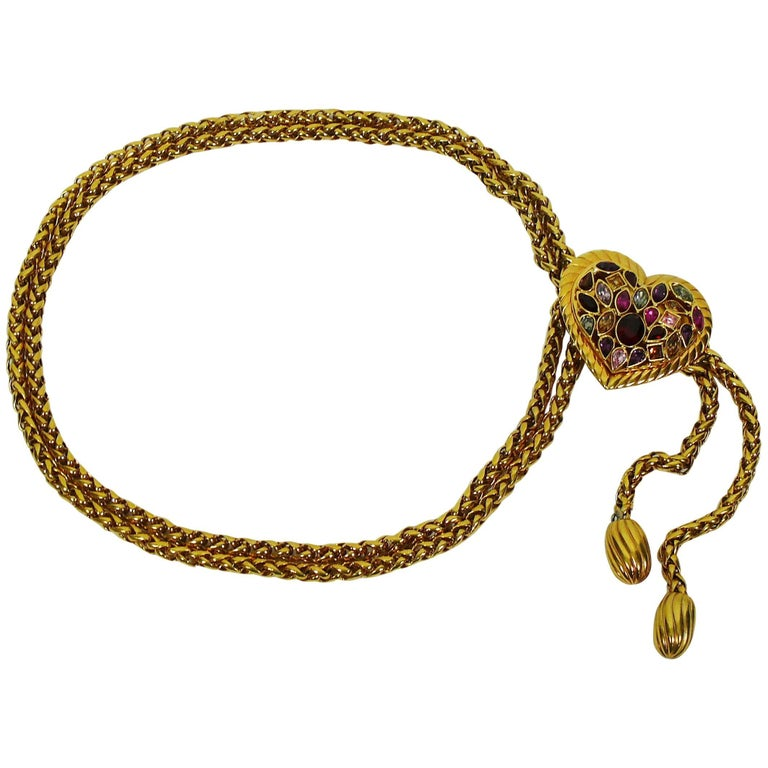 Yves Saint Laurent YSL Vintage Jewelled Heart Chain Belt