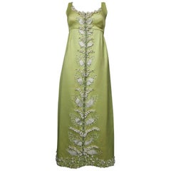 Gazar Italy evening dress embroidered with lily of the valley, circa 1965