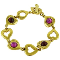 Yves Saint Laurent YSL Vintage Heart Bracelet with Glass Cabochons