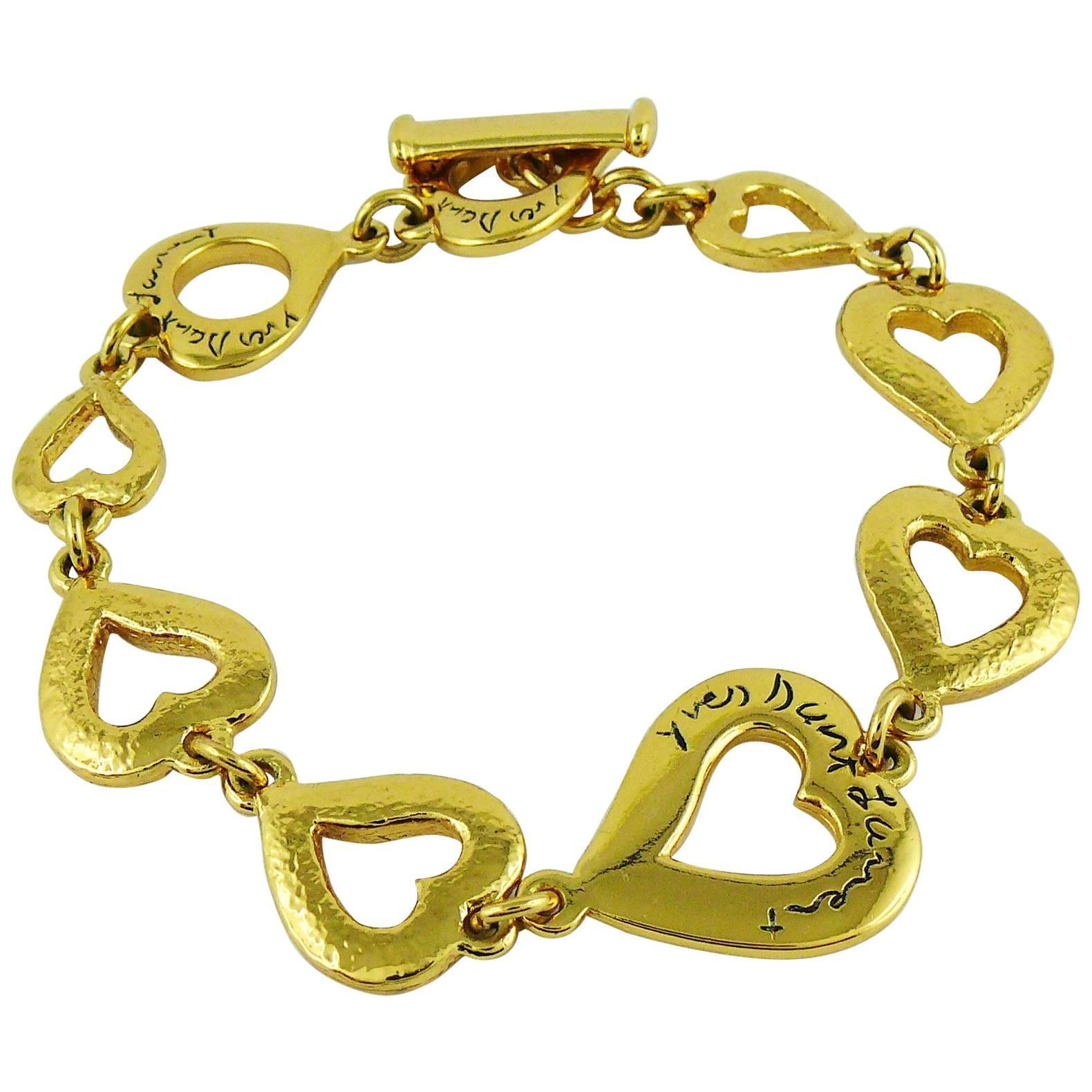 1030f0649aa Yves Saint Laurent YSL Vintage Gold Toned Heart Bracelet at 1stdibs