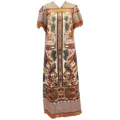 1960's Georgie Keyloun Raj Tapestry Caftan Dress Robe