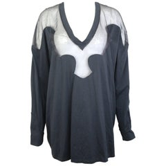Givenchy Black Cotton and Silk Long Sleeves V-Neck Tunic Top