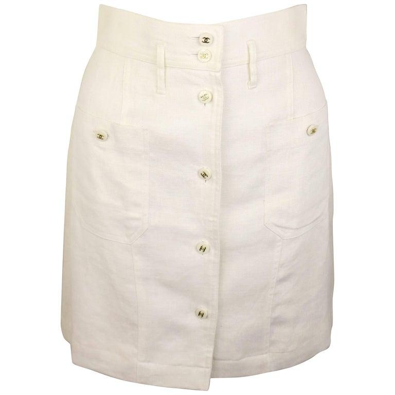 Chanel Classic White Linen Skirt