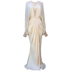 1980s Louis Féraud Haute Couture beautiful ivory silk evening gown