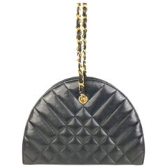 Chanel Black Half Round Lambskin Quilted Shoulder Bag