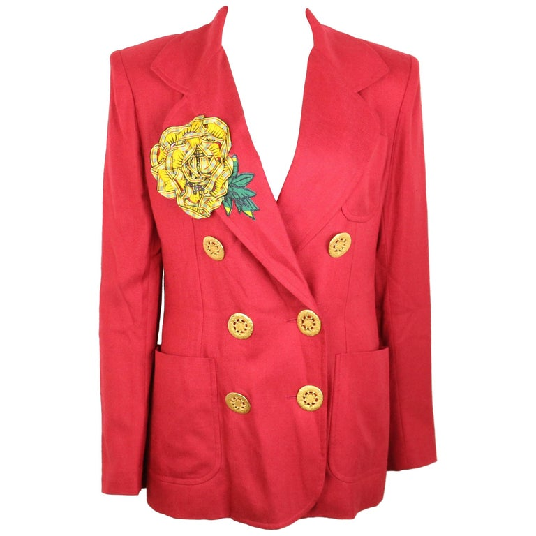 Christian Lacroix Red with Yellow Ruffle Sunflower Double Breasted Blazer