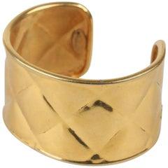 CHANEL Vintage Gold Metal Quilted Cuff Bracelet
