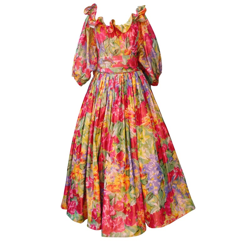 1990s Nina Ricci (attributed to) Opera dress with yellow red and green colors For Sale