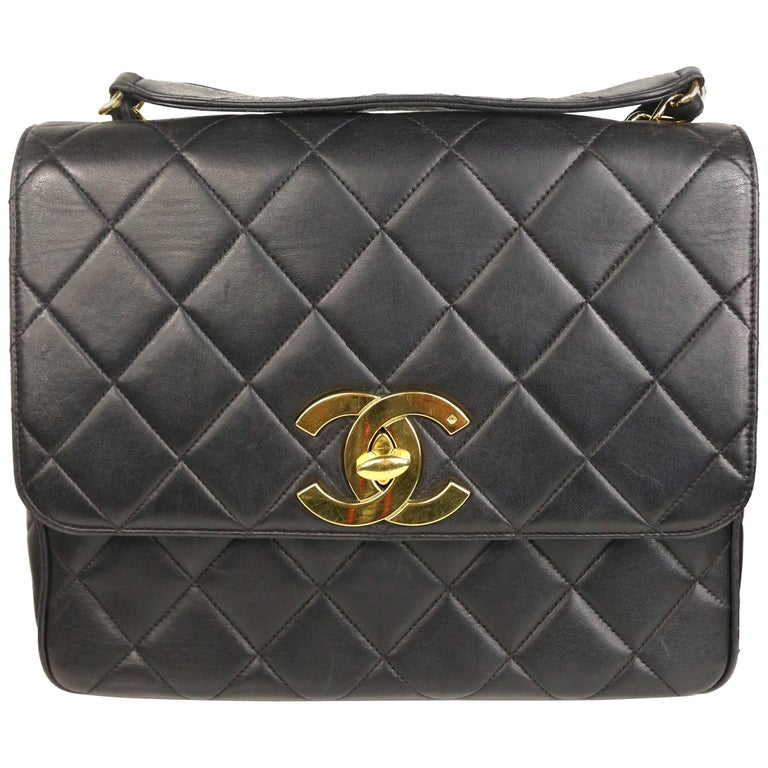 """Chanel Classic Black Quilted Lambskin Gold Toned """"CC"""" Flap Shoulder Bag For Sale"""