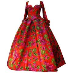 Nina Ricci red opera dress with pink and green floral print, 1990s