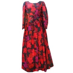 Nina Ricci taffeta opera dress with black and fuchsia floral pattern print, 1990