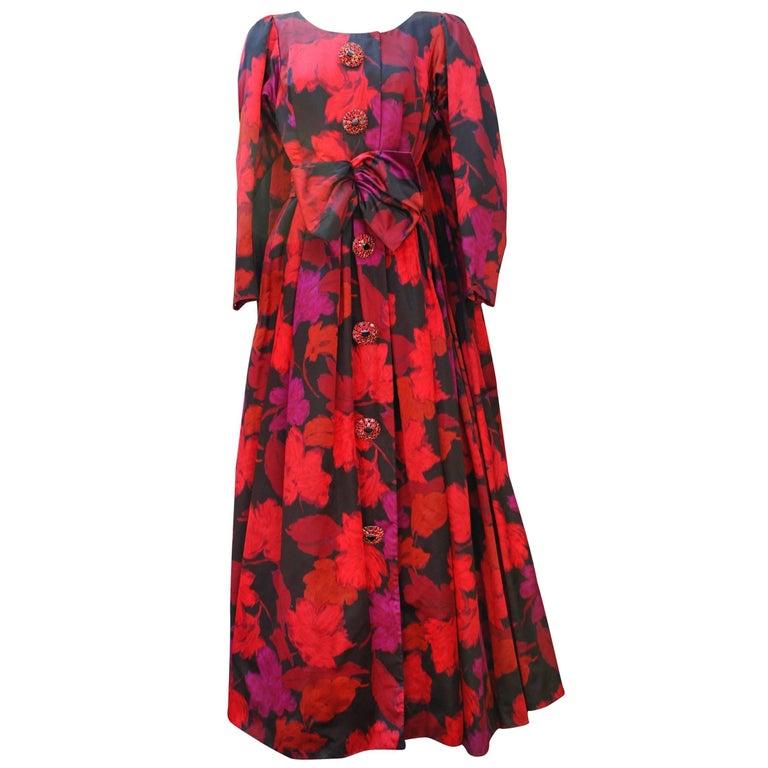 Nina Ricci taffeta opera dress with black and fuchsia floral pattern print, 1990