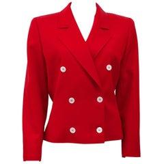1980s Valentino Miss V Red Tie Back Jacket