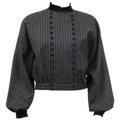 1980s Valentino Navy Striped Military Style Cropped Jacket