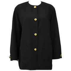 1980s Valentino Miss V Oversized Black Jacket With Gold Buttons