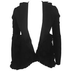 Marni Black Open Front Layered Pleated Ruffles Shorter at Front w/ Long Sleeve