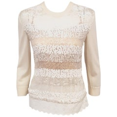 Louis Vuitton Ivory Sequin Long Sleeve Wool & Silk Crew Neck Top