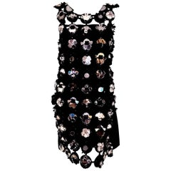 Marvelous Miu Miu Black Suede Retro Chic Cutout Plexi Mirrored Runway Dress