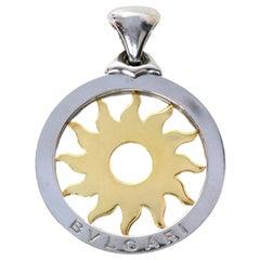 Bvlgari Bulgari Stainless Steel & 18K Yellow Gold Tondo Sun Necklace Pendant