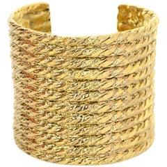 Yves Saint Laurent YSL Goldtone Wide Cuff Bracelet