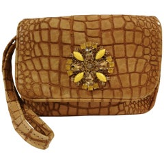 Aphros Brown Leather croco stamp Handle - Shoulder bag