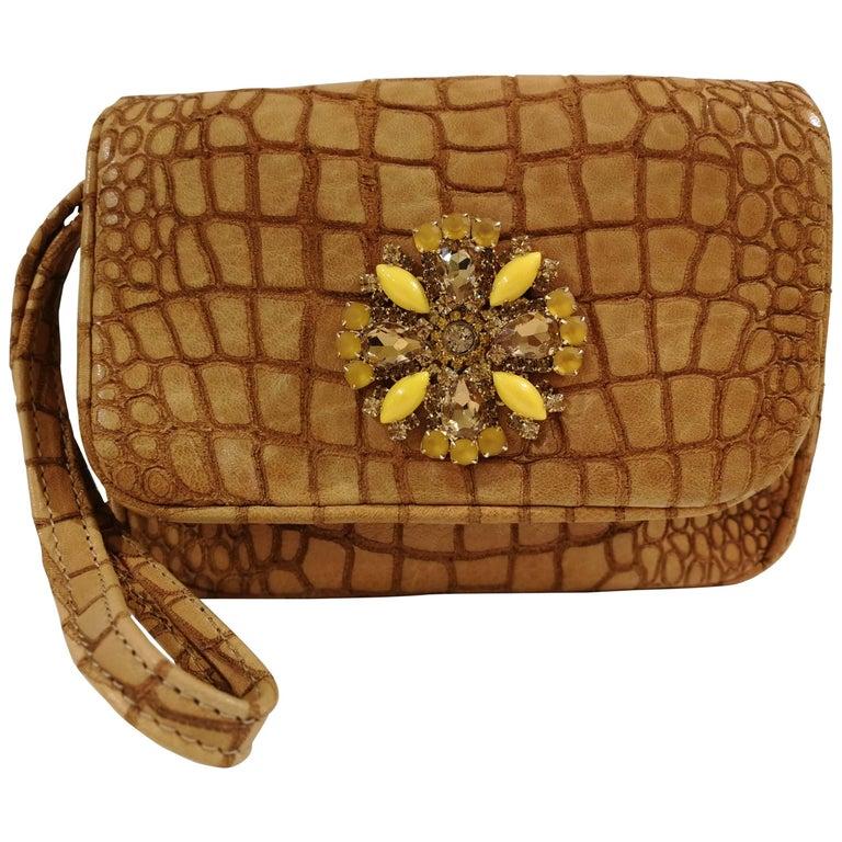 Aphros Brown Leather croco stamp Handle - Shoulder bag