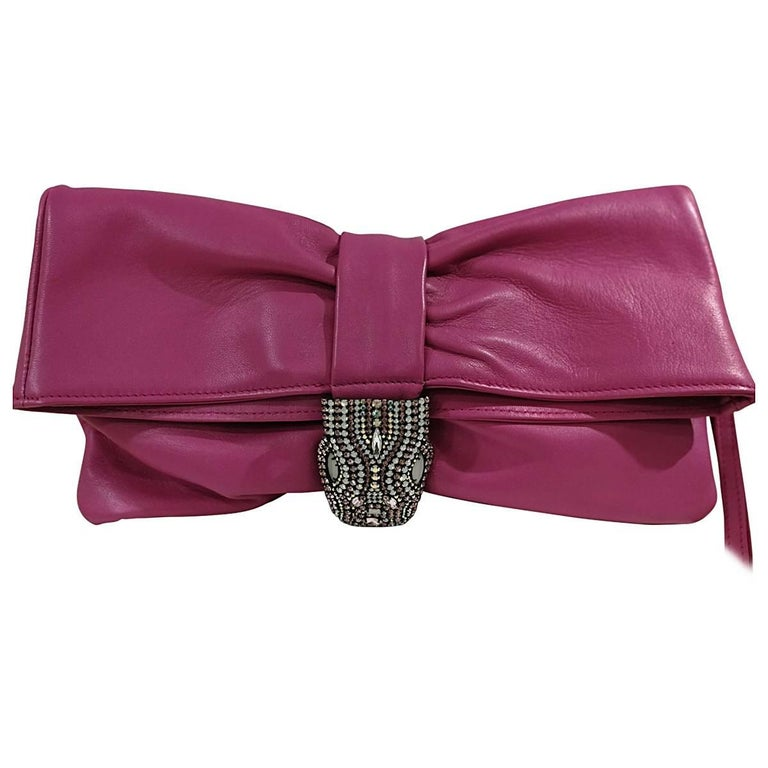 Aphros Fucsia Leather Clutch